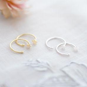 Sterling Silver Star Pull Hoop Personalised Earrings