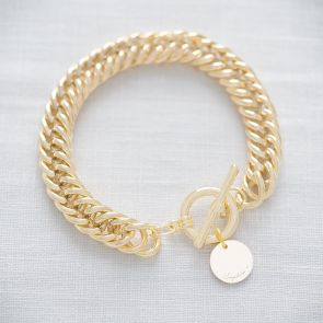 Suki Statement Chain and Disc Personalised Message Bracelet