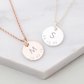 Sterling Silver Triple Initial And Date Personalised Necklace