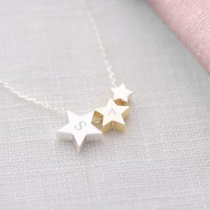 Triple Star Initial Personalised Necklace