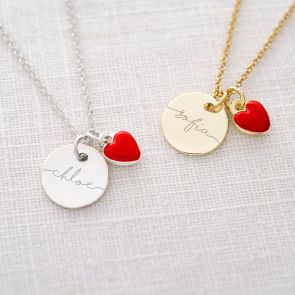 Esme Disc and Enamel Heart Personalised Necklace