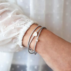 Triple Bangle with Slider Heart Charm Personalised with Initials