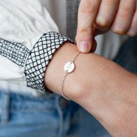 Silver Initial Disc Personalised Bracelet