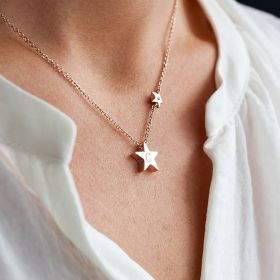 """Silver Necklace chain with Star Charm Engraved with Initial """"C"""" and smaller star charm worn around Neck"""